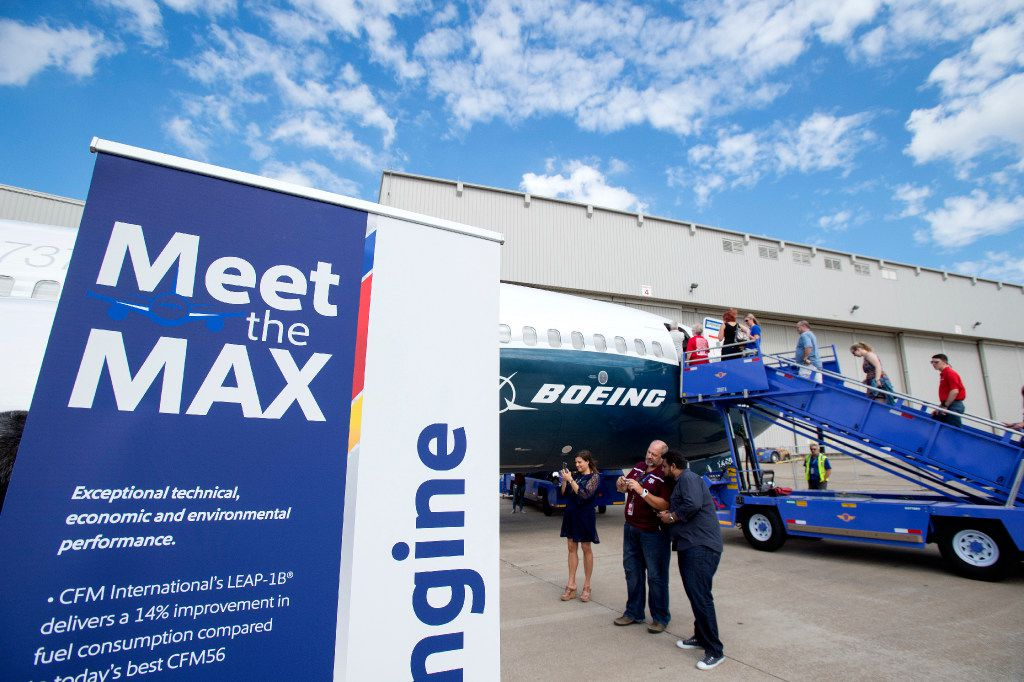 Southwest Airlines employees get a first look at the new Boeing 737 MAX jetliner at Love Field in Dallas on Friday, September 23, 2016. (Jeffrey McWhorter/Special Contributor)