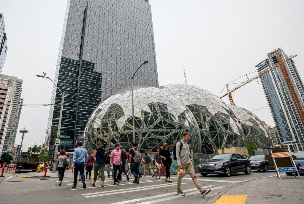 Pedestrians walked past geodesic domes at Amazon's Seattle headquarters in 2017.