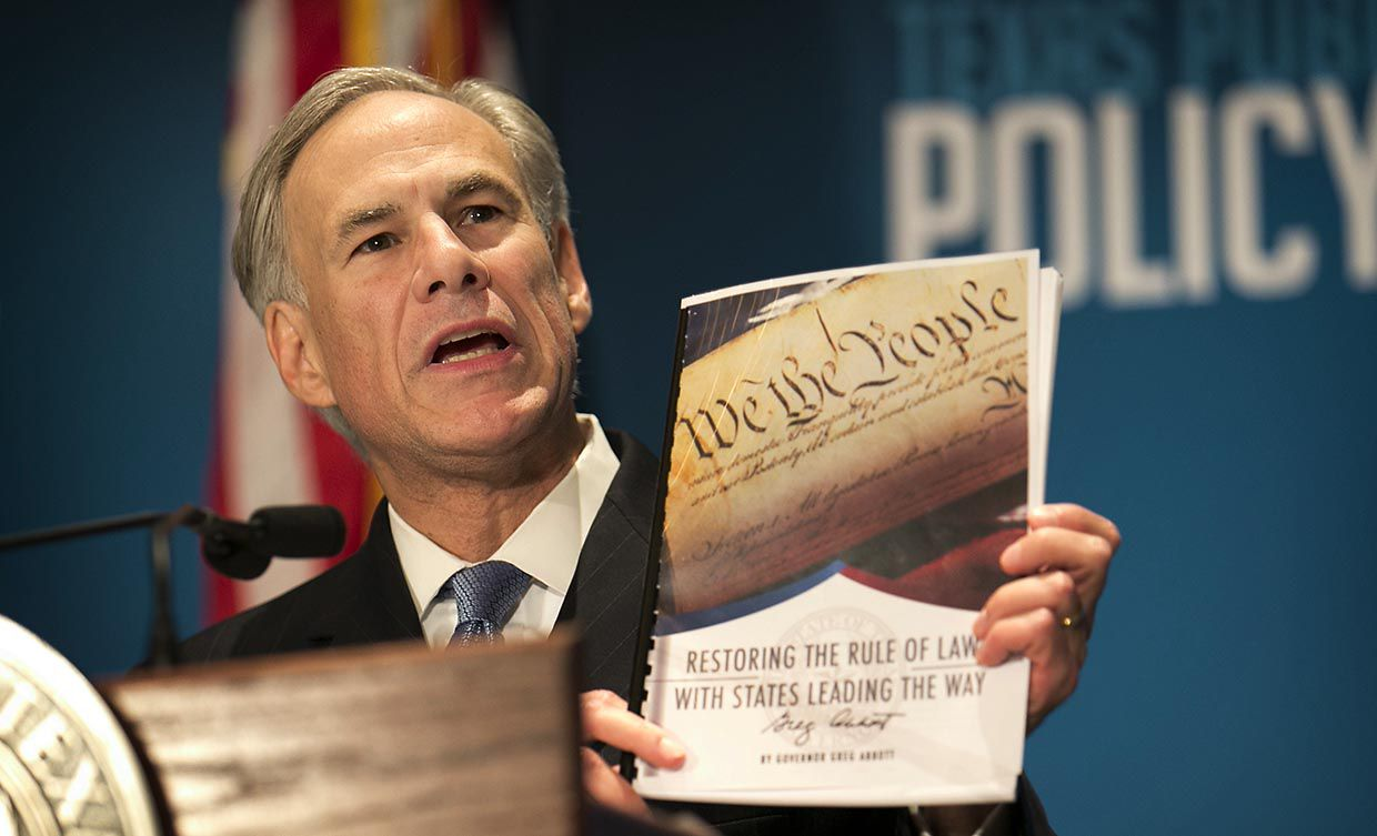 Gov. Greg Abbott calls for a convention of states to amend the Constitution during a speech at the Texas Public Policy Foundation in January 2016.