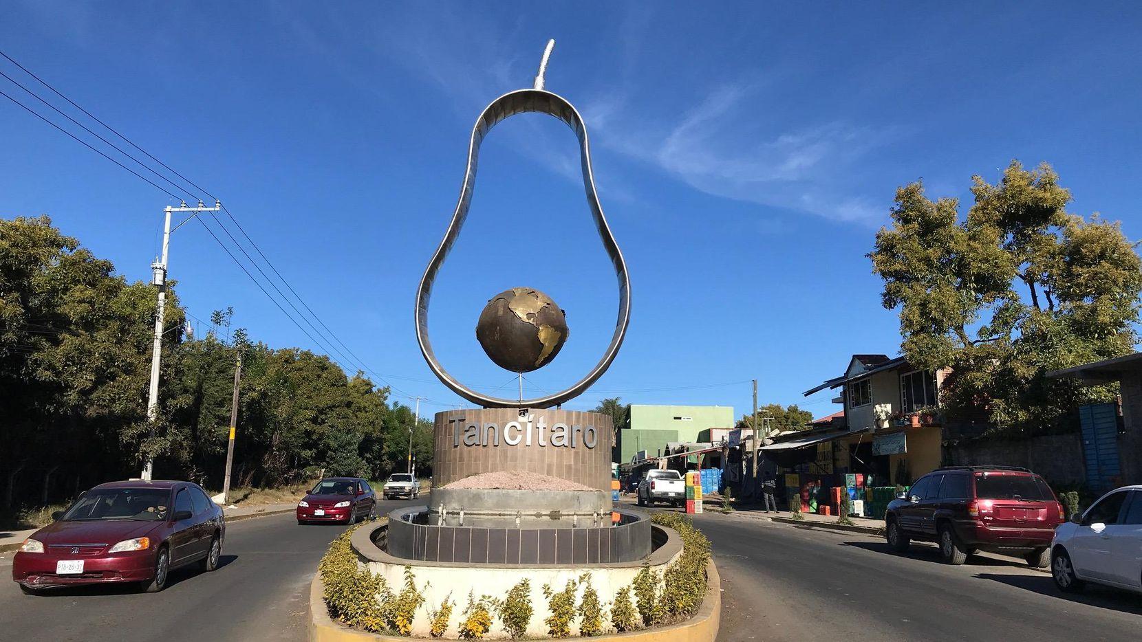 Una escultura de un aguacate adorna la entrada al pueblo de Tancítaro, Michoacán. (DMN/ALFREDO CORCHADO)