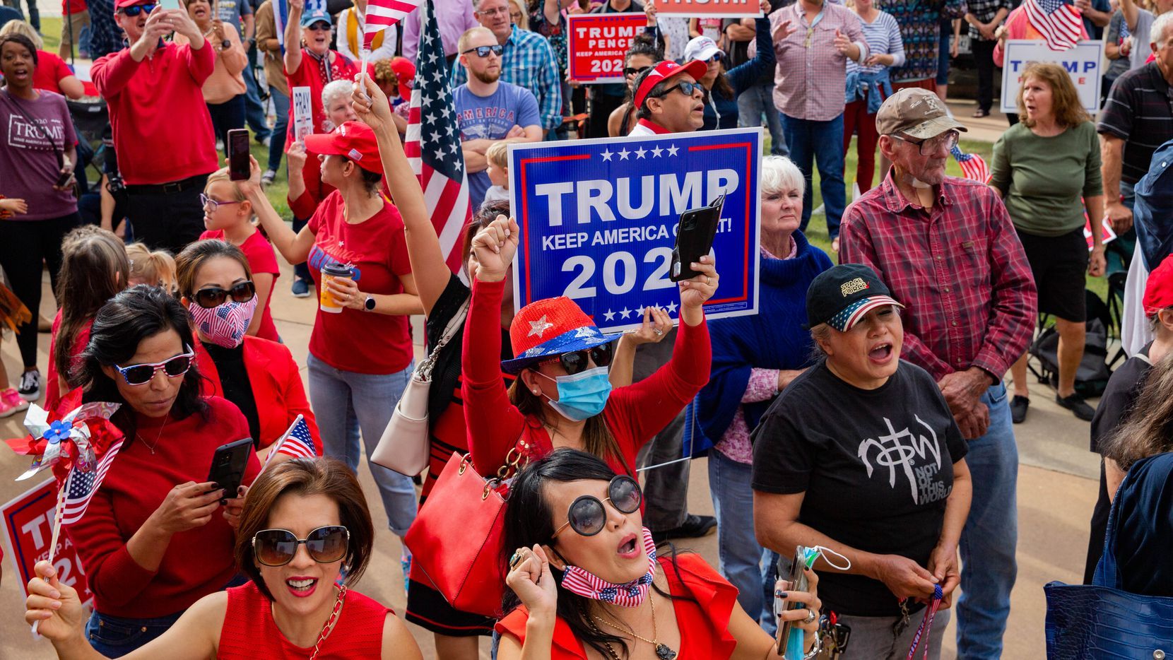Trump supporters gather for an America is Great rally hosted by TrumpTrain 2020 DFW at Rockwall County Courthouse in Rockwall on Sunday, Nov. 8, 2020.