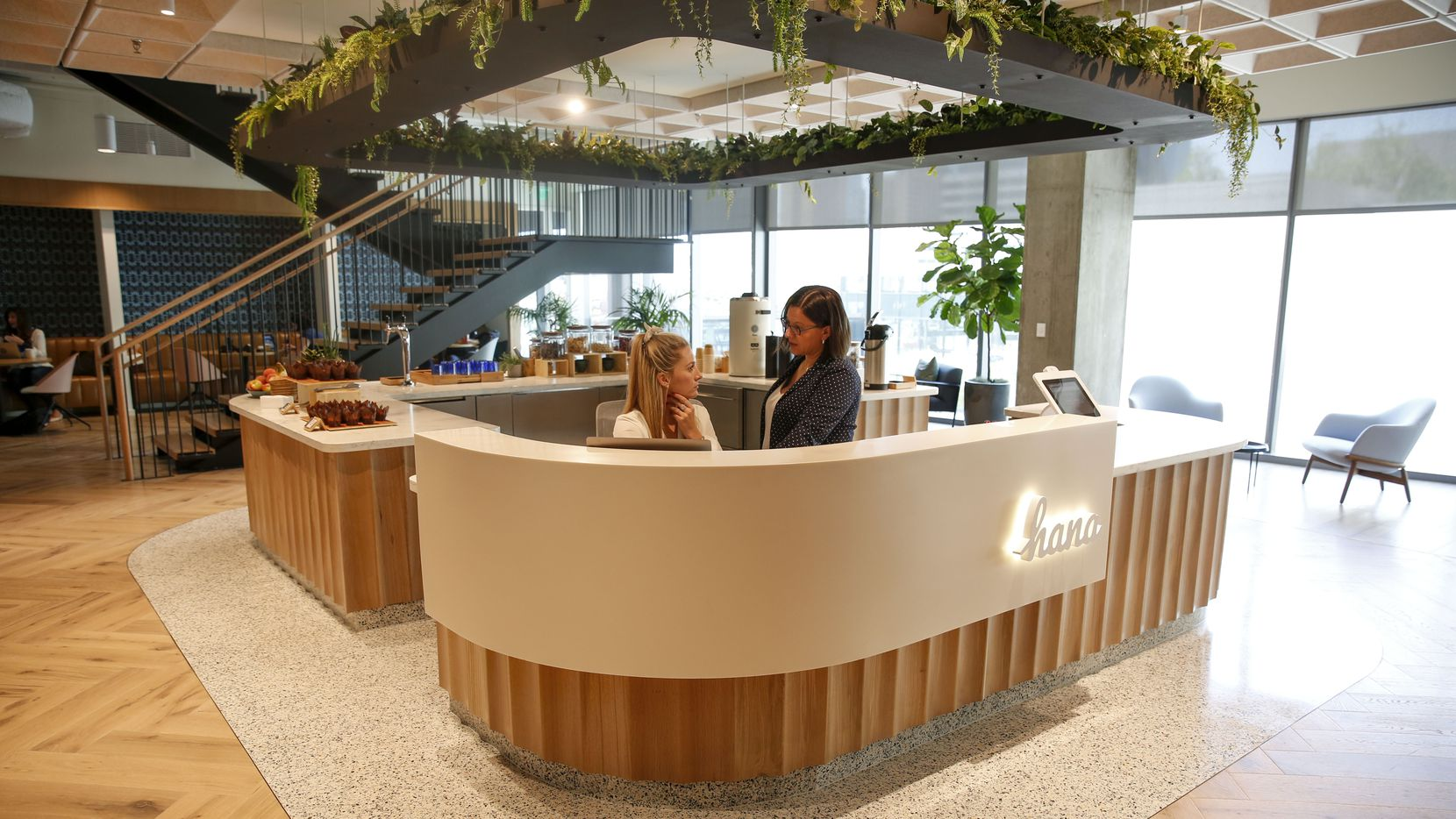 The front desk in the lobby at Hana, the first of a new nationwide chain of coworking centers opening in uptown Dallas.