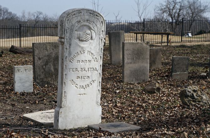 Among the markers at the Young Cemetery is one for Thomas Finley, a veteran of the War of 1812.