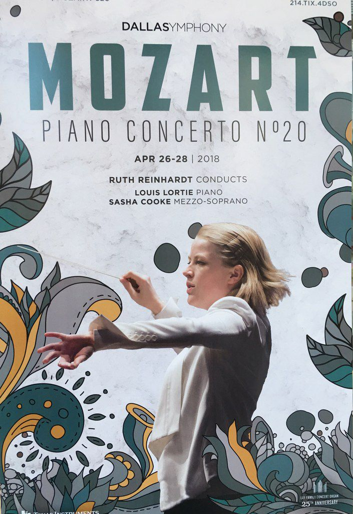 A poster showing  Ruth Reinhardt at the Meyerson Symphony Center on April 26, 2018.