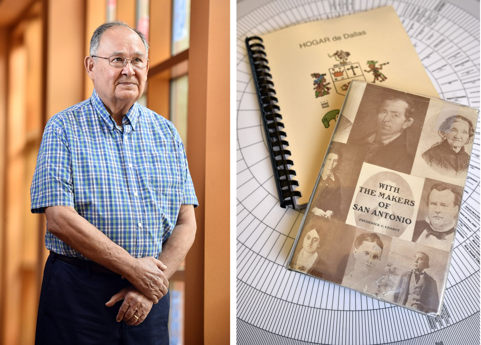 Above left: Oscar Ramirez was surprised to run across distant relatives at a HOGAR meeting. Above right: Armed with the book With the Makers of San Antonio and HOGAR's annual journal, descendants may fill in slots on their circular family trees.