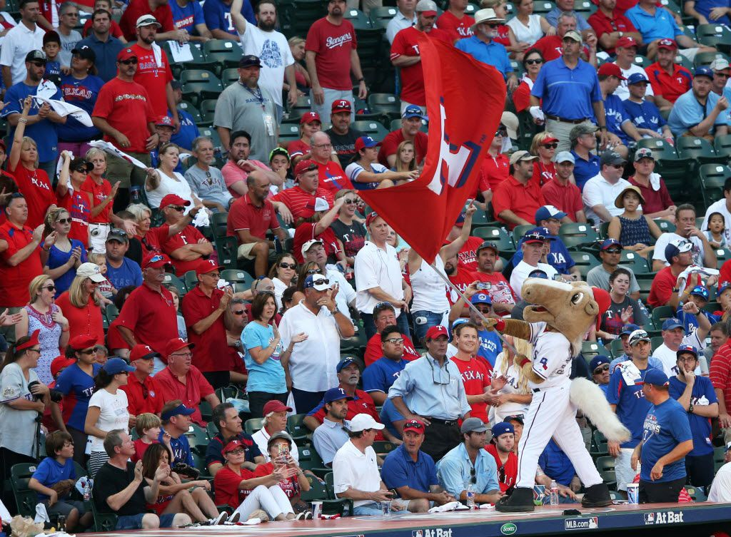 Texas Rangers mascot Captain attempts to rile the crowd up before the start of the bottom of the ninth inning in a game against the Toronto Blue Jays in game 4 of the American League Division Series at Globe Life Park in Arlington on Monday, October 12, 2015. Toronto Blue Jays defeated the Texas Rangers 8-4 and tied the series 2-2. (Vernon Bryant/The Dallas Morning News)