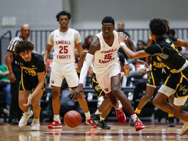 Kimball's Kyron Henderson (15) drives during the second half of a boys basketball UIL Class 5A Region II semifinal between Kimball and Mount Pleasant on Friday, March 6, 2020 at Curtis Culwell Center in Garland, Texas. (Ryan Michalesko/The Dallas Morning News)