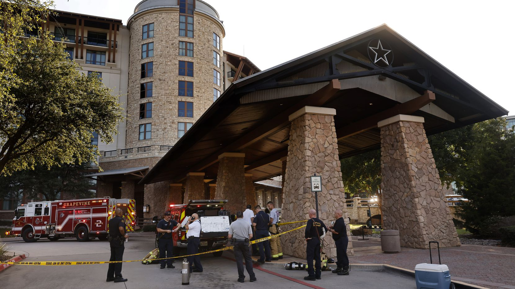 Fire officials set up a command post outside the Gaylord Texan Resort & Convention Center following a smoky fire at the Grapevine resort on Aug. 25.