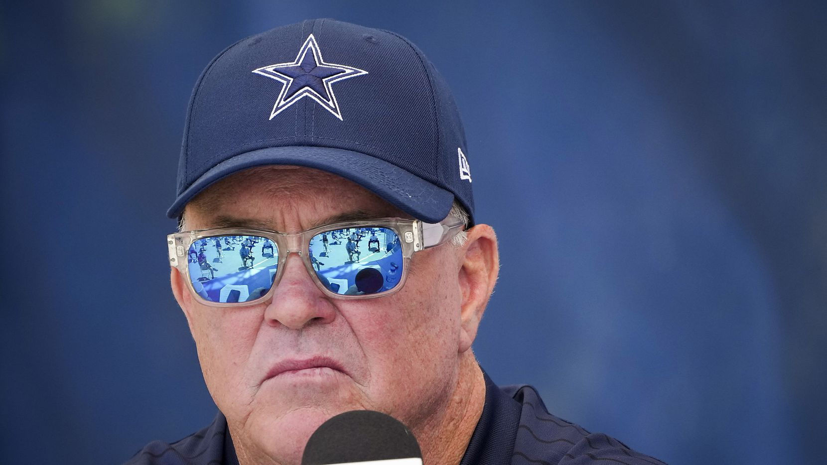 Dallas Cowboys executive vice president Stephen Jones listens during the opening news conference for team's training camp on Wednesday, July 21, 2021, in Oxnard, Calif.