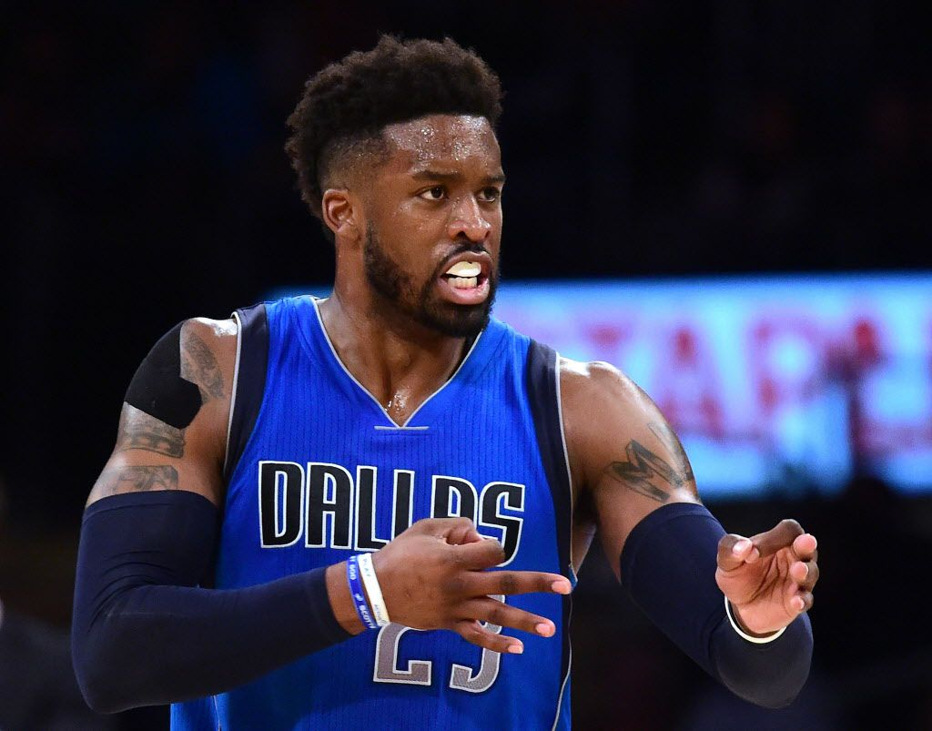LOS ANGELES, CA - DECEMBER 29:  Wesley Matthews #23 of the Dallas Mavericks celebrates his basket to take the lead over the Los Angeles Lakers during the third quarter at Staples Center on December 29, 2016 in Los Angeles, California.  NOTE TO USER: User expressly acknowledges and agrees that, by downloading and or using this photograph, User is consenting to the terms and conditions of the Getty Images License Agreement.  (Photo by Harry How/Getty Images)