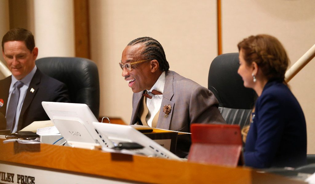 Dallas County Commissioner John Wiley Price (center) smiles while speaking next to County Judge Clay Jenkins (left) and District 4 Commissioner Dr. Elba Garcia during a Commissioners Court meeting in Dallas, Tuesday, May 2, 2017. (Jae S. Lee/The Dallas Morning News)