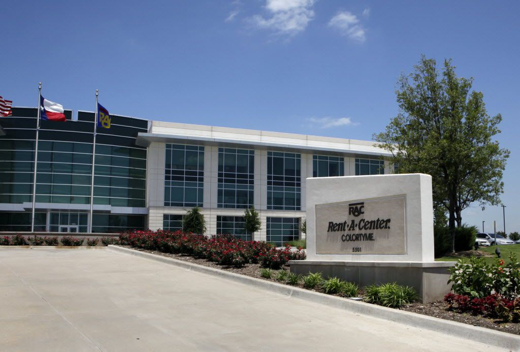 The view of Rent-A-Center sign and building on Headquarters Drive in Plano.