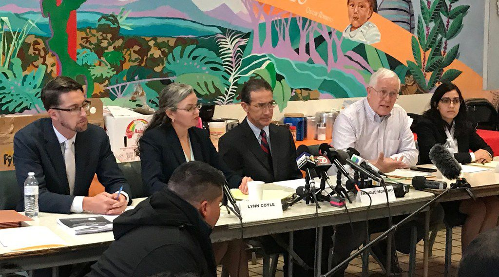 Attorney Enrique Moreno and other lawyers insisted an independent investigation be conducted in the death of 7-year-old Jakelin Caal Manquin. From from left, attorneys Chris Benoit, Lynn Coyle and Moreno; Ruben Garcia of Annunciation House (speaking); and attorney Elena Esparza.