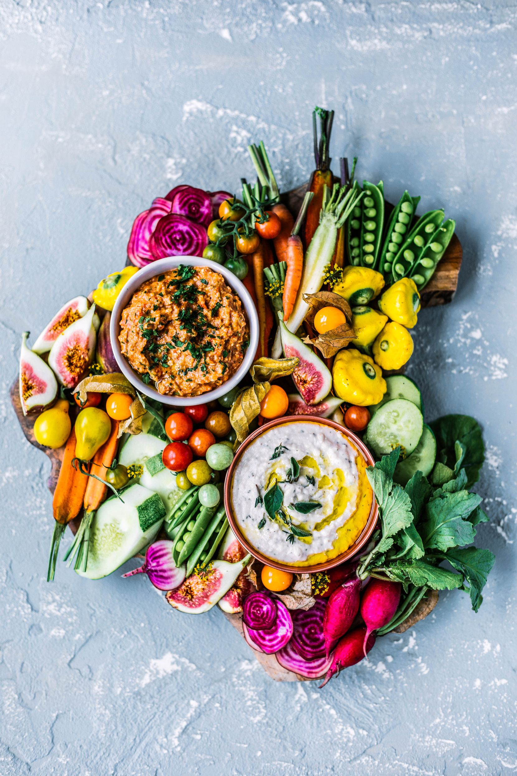 Serve Tuscan White Bean Dip with assorted vegetables for dipping.