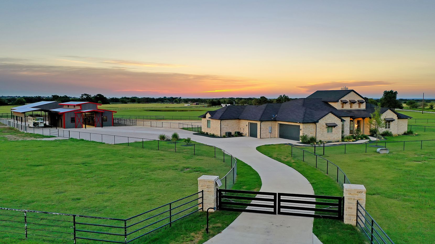 The 12-acre ag exempt equestrian property at 12451 Foutch Road in Pilot Point is priced at $1,574,900.