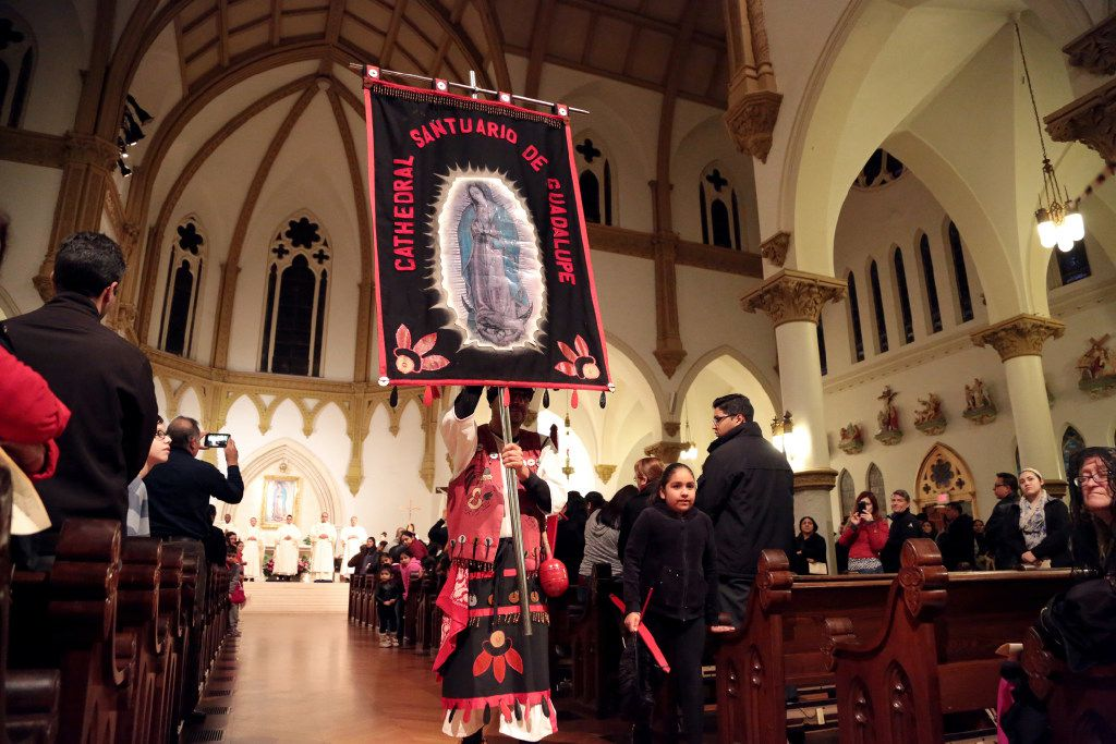 Matachines participated at Thursday night's Mass at the Cathedral Shrine of the Virgin of Guadalupe on Thursday.