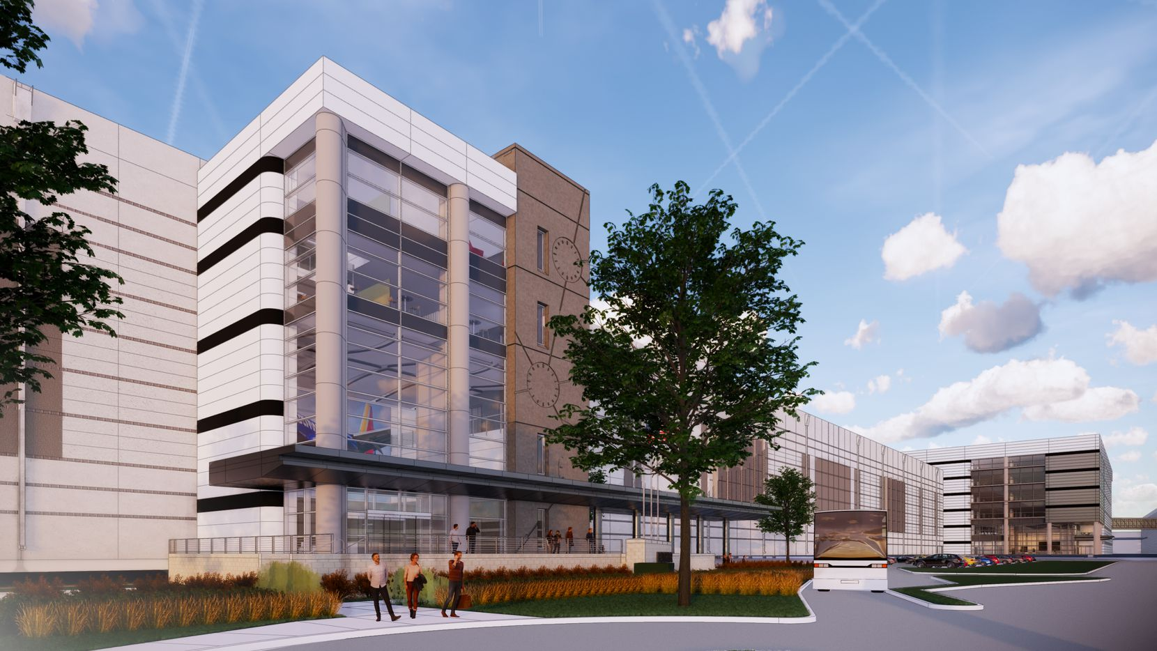 A rendering of Southwest's pilot training center under construction at Dallas Love Field.