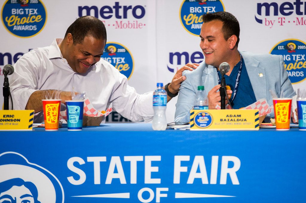 Mayor Eric Johnson and Adam Bazaldua at the 2019 State Fair.