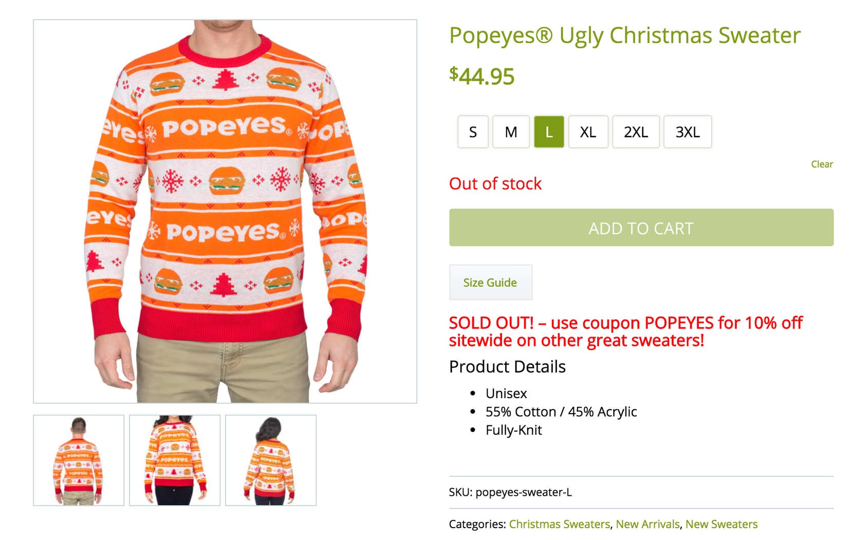 Popeyes' ugly Christmas sweater cost $44.95.