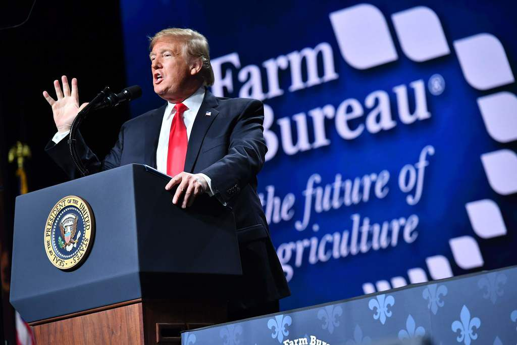 President Donald Trump addresses the annual American Farm Bureau Federation convention in the Ernest N. Morial Convention Center in New Orleans on January 14, 2019.