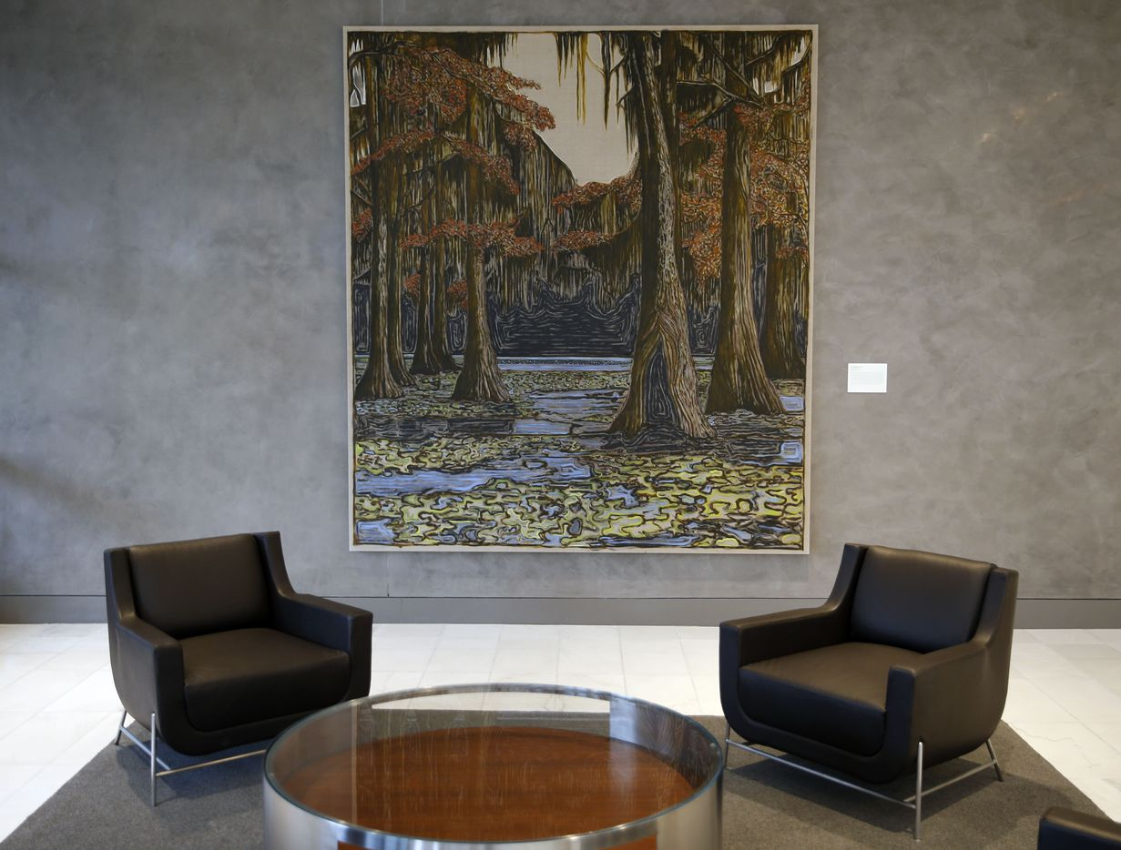 Cypress Trees, 2018 by Billy Childish is on display at the new Park District high-rise complex in Dallas.
