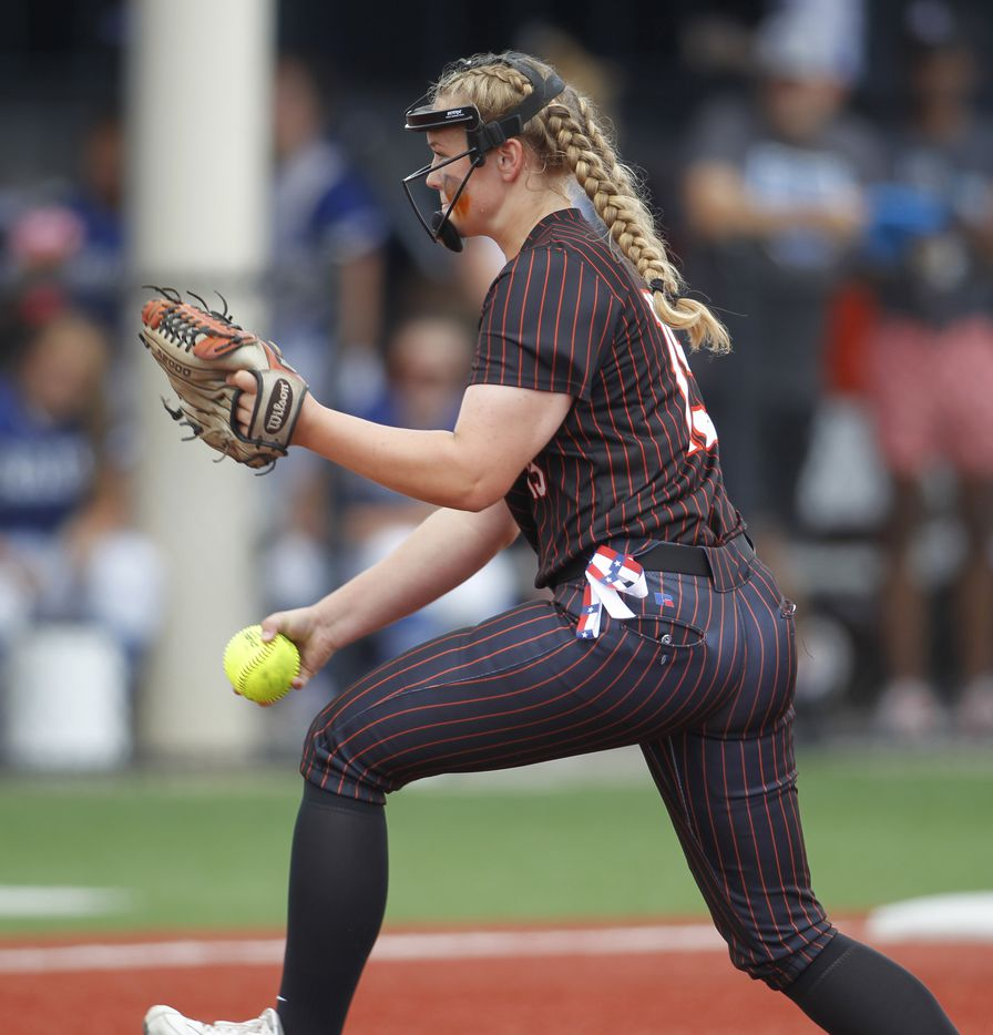 Aledo pitcher Kayleigh Smith (15) delivers a pitch to a Georgetown batter during the bottom of the first inning of play. The two teams played their UIL 5A state softball semifinal game at Leander Glenn High School in Leander on June 4, 2021. (Steve Hamm/ Special Contributor)