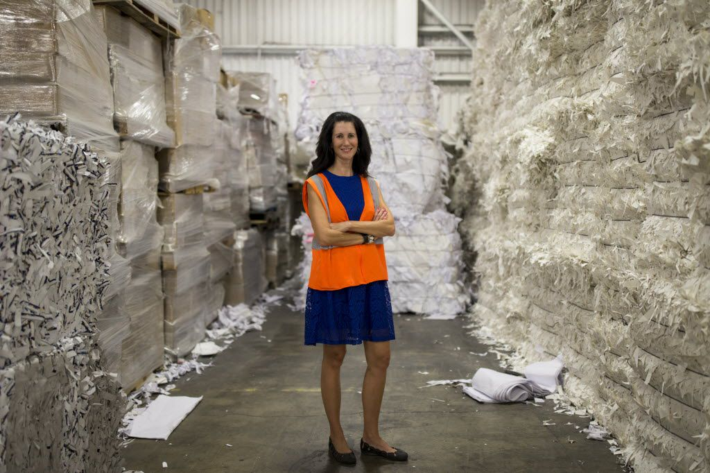 Kathy DeLano, vice president of sales of Texas Recycling, poses for a portrait in the Texas Recycling plant on July 27, 2016 in Dallas. (Ting Shen/The Dallas Morning News)