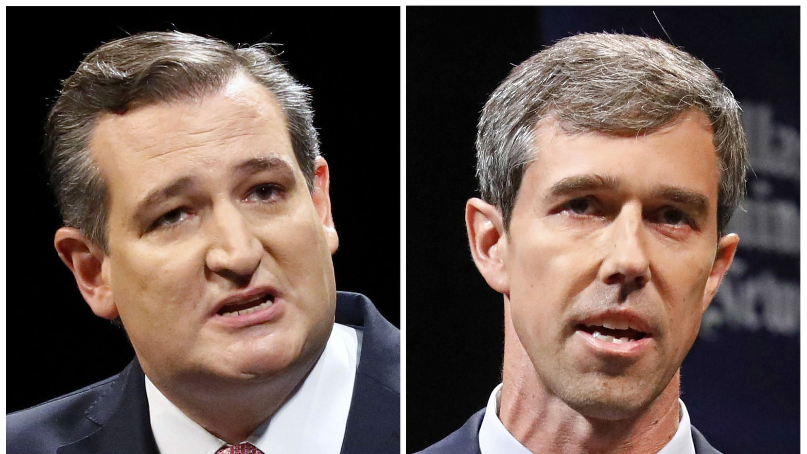 FILE - This combination of Sept. 21, 2018, file photos shows Texas U.S. Senate candidates in the November 2018 election from left, incumbent GOP Sen. Ted Cruz, left, and Democratic U.S. Representative Beto O'Rourke. (Tom Fox/The Dallas Morning News via AP, Pool, File)