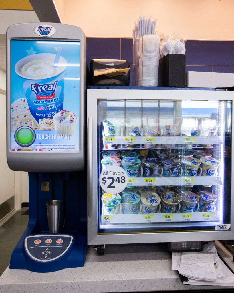 A f'real smoothie machine inside a new Walmart convenience store on Wednesday, February 8, 2017 on FM 1187 in Crowley, Texas. (Ashley Landis/The Dallas Morning News)