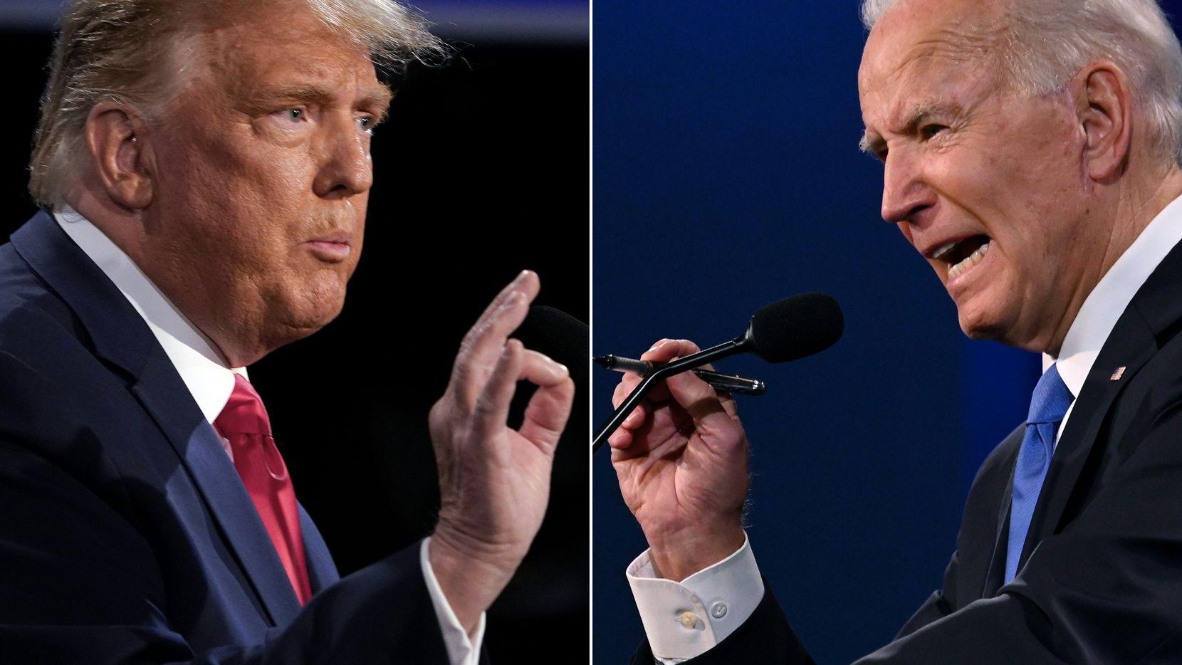 President Donald Trump and former vice president Joe Biden during the final presidential debate, Oct. 22, 2020, at Belmont University in Nashville, Tenn.