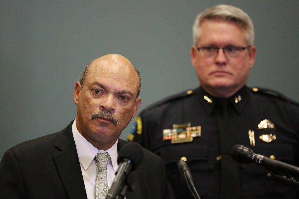 Dr. Jose Adames (left), president of El Centro College, and El Centro police Chief Joseph Hannigan discuss the impact of the July 7th shooting in downtown Dallas had on El Centro police officers and property at the Dallas County Community College District building in Dallas Monday July 11, 2016. Two El Centro officers were hurt in the attack that killed five Dallas police officers. (Andy Jacobsohn/The Dallas Morning News)