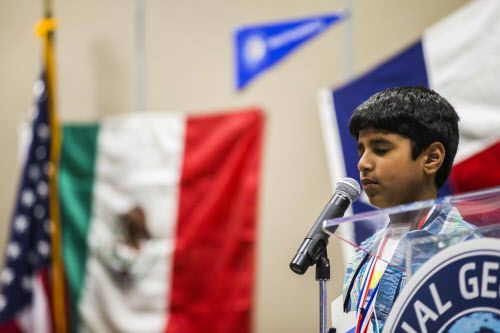 Ashmith Kumbala, a student at Valley Ranch Elementary School in Irving, thinks about his answer during the National Geographic 2016 State Geography Bee earlier this year. The Coppell ISD school is more than 80 percent Asian-American but has few Asian-American faculty members, according to a lawsuit filed against the district's method of electing school board representatives. (Ashley Landis/Staff Photographer)