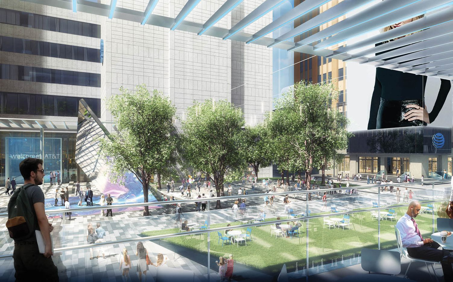 A second floor outdoor deck at the food hall will overlook the Discovery District plaza.