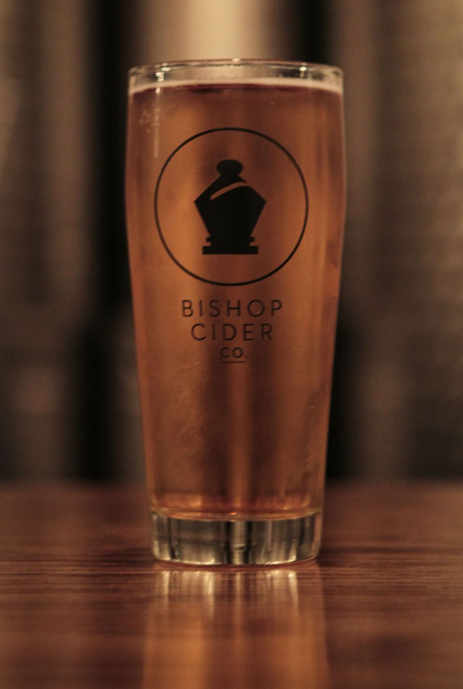 A glass of hard cider on the bar at The Bishop Cider Company in Dallas on Friday, Sept. 19, 2014.