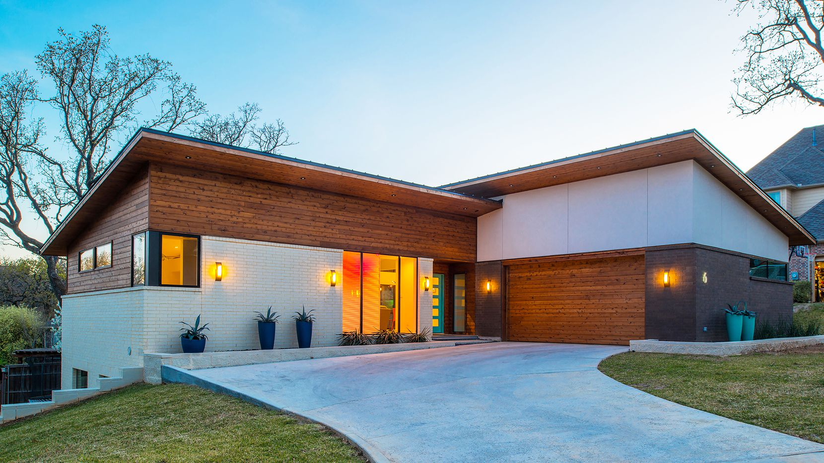 The residence at 6 Shady Oaks Court in Trophy Club was the dream of architect/builder Marc Frame of TexMod Homes and his wife, Emily.