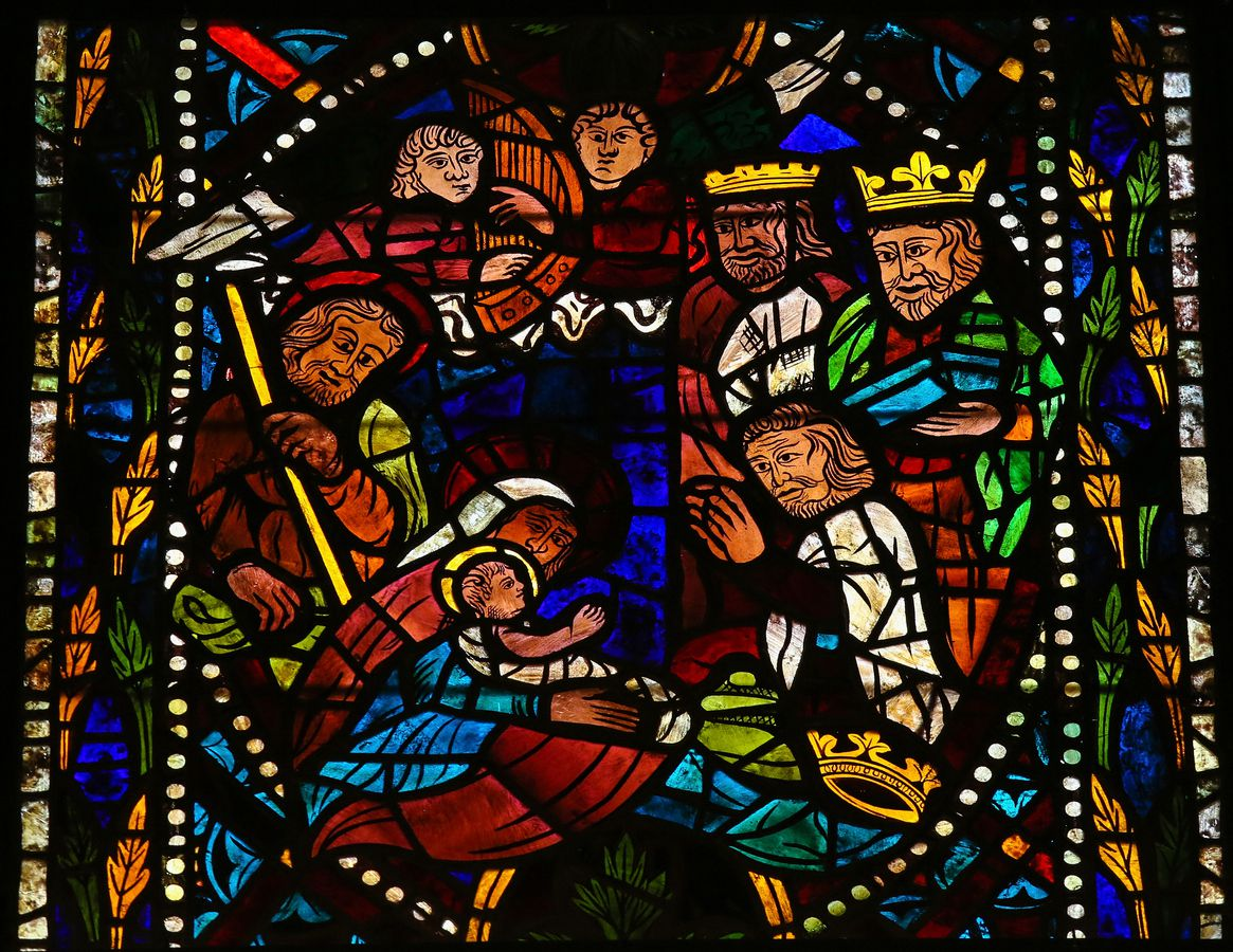 This 400-year-old stained-glass window depicts a Nativity scene with the three Magi from the east in the cathedral of Leon, Spain.