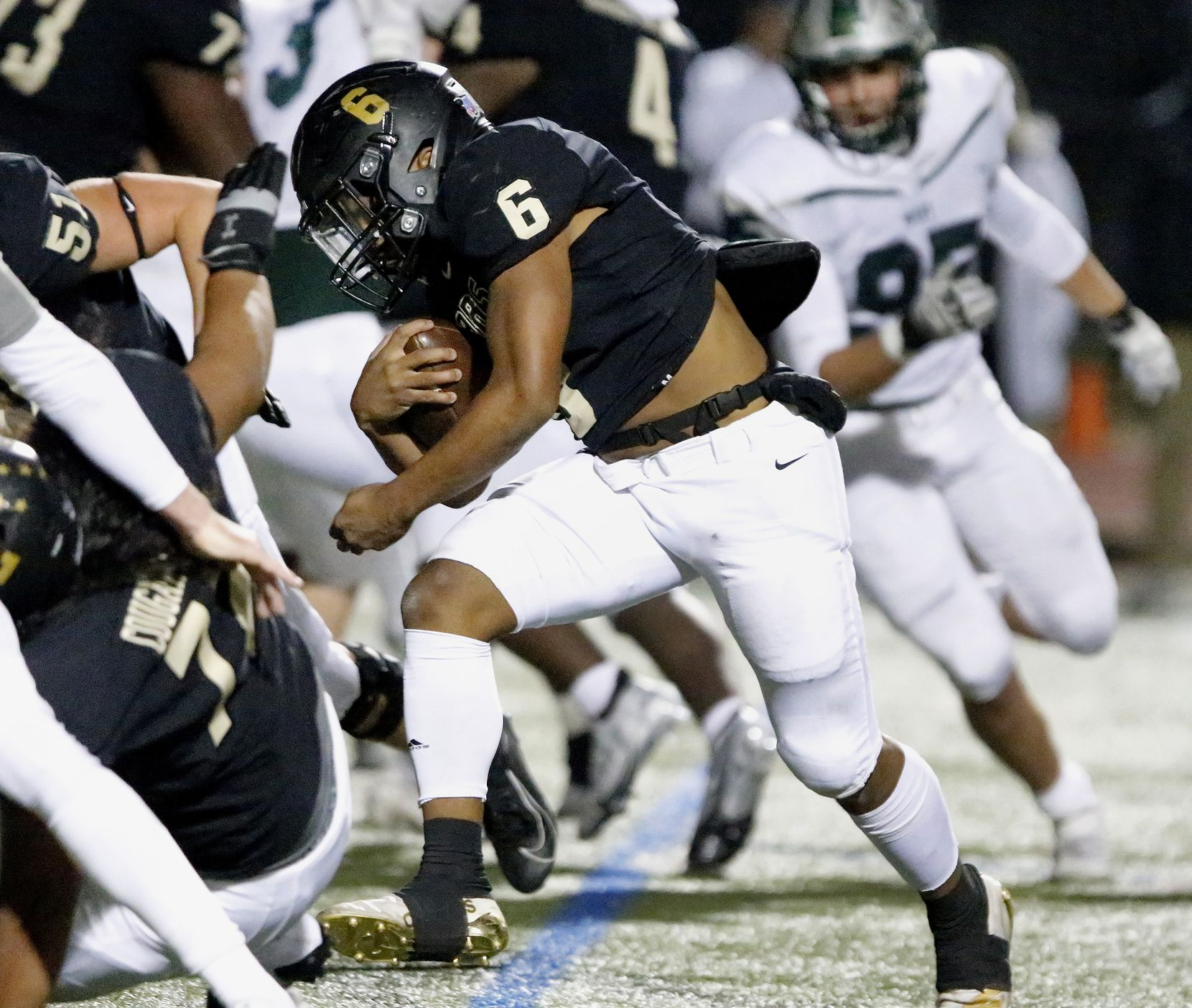 The Colony High School running back Kamden Wesley (6) carries the ball during the first half as The Colony High School hosted Frisco Reedy High School at Tommy Briggs Stadium on Friday night, December 4, 2020.  (Stewart F. House/Special Contributor)
