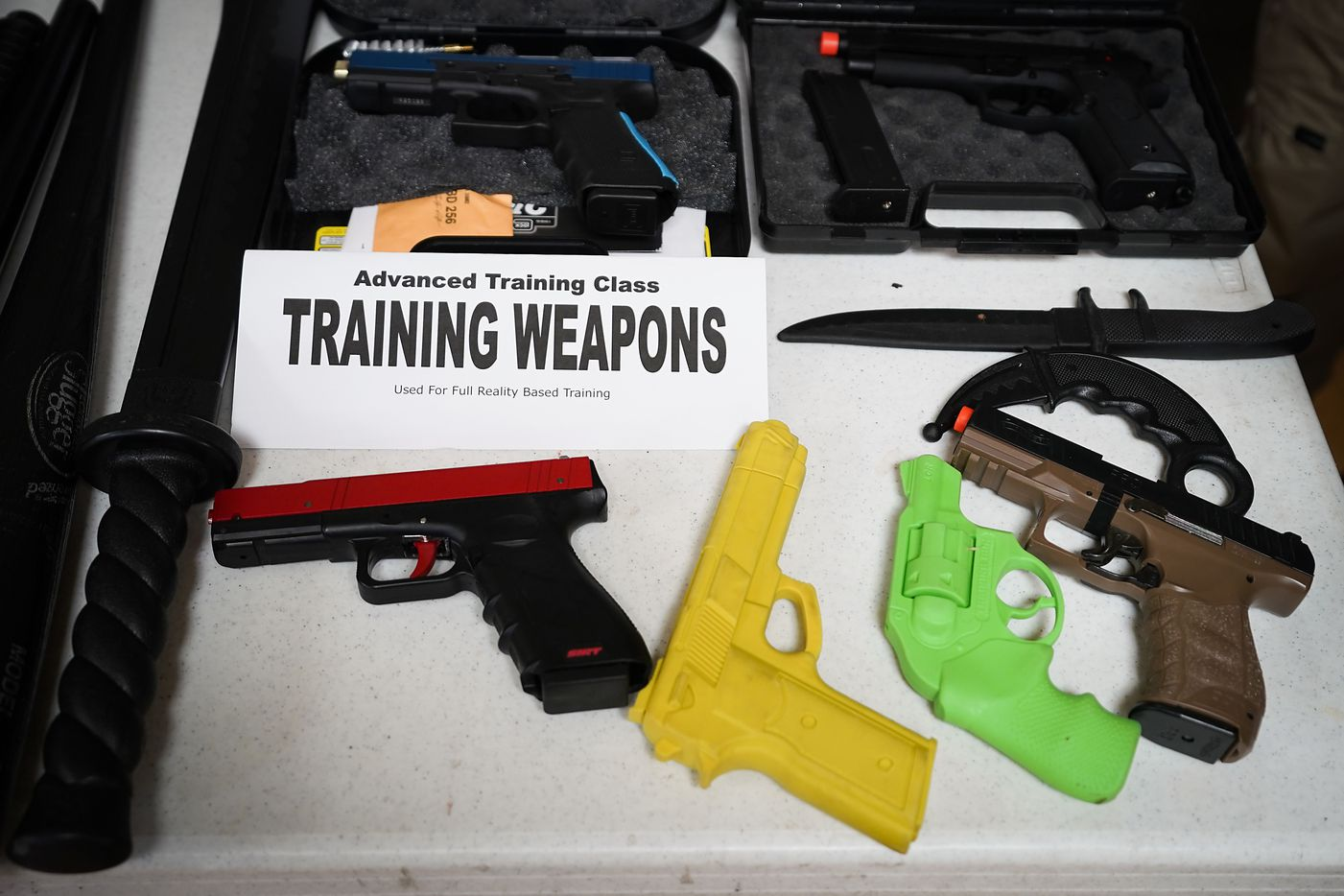 Training weapon displayed by Sentry One Consulting Group at during a  church safety seminar at North Pointe Baptist Church on Sunday, Jan. 26, 2020, in Hurst, Texas.