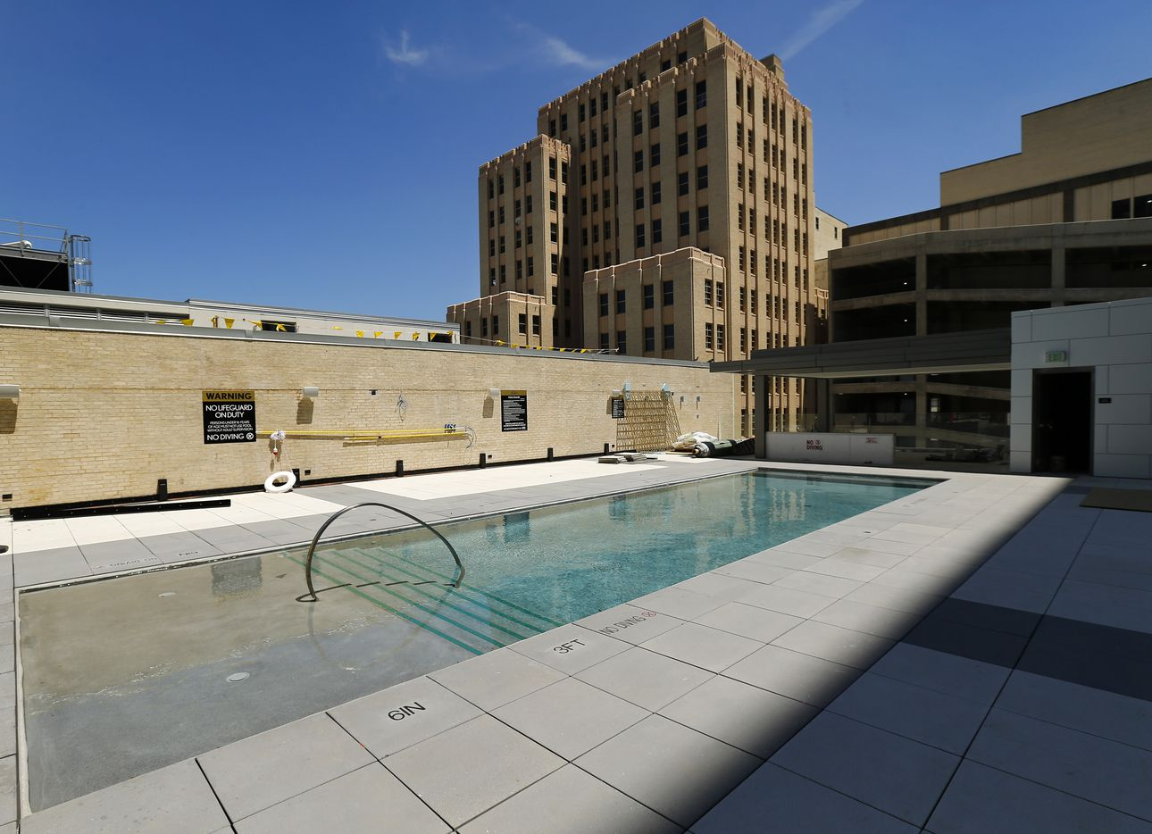 On the fourth floor is a  leisure pool and outdoor bistro area with space for cabanas at the Statler Residences in downtown Dallas.