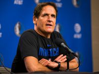 Dallas Mavericks owner Mark Cuban speaks to reporters after the Dallas Mavericks beat the Denver Nuggets 113-97 on Wednesday, March 11, 2020 at American Airlines Center in Dallas. During the game, the NBA suspended all games due to the spread of coronavirus.