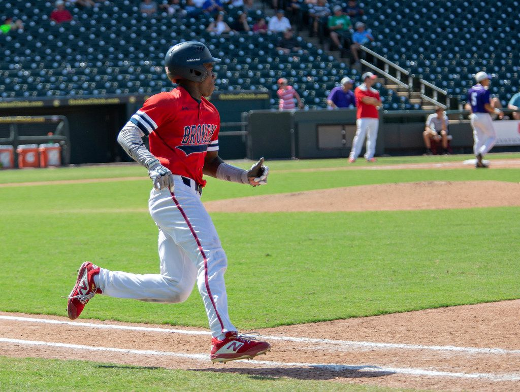 McKinney Boyd's sophomore Tyler Collins (7) runs towards first base during their game against Fort Bend Ridge Point at their 6A UIL baseball state semifinals game at the Dell Diamond on June 7, 2019 in Round Rock, Texas. (Thao Nguyen/Special Contributor)
