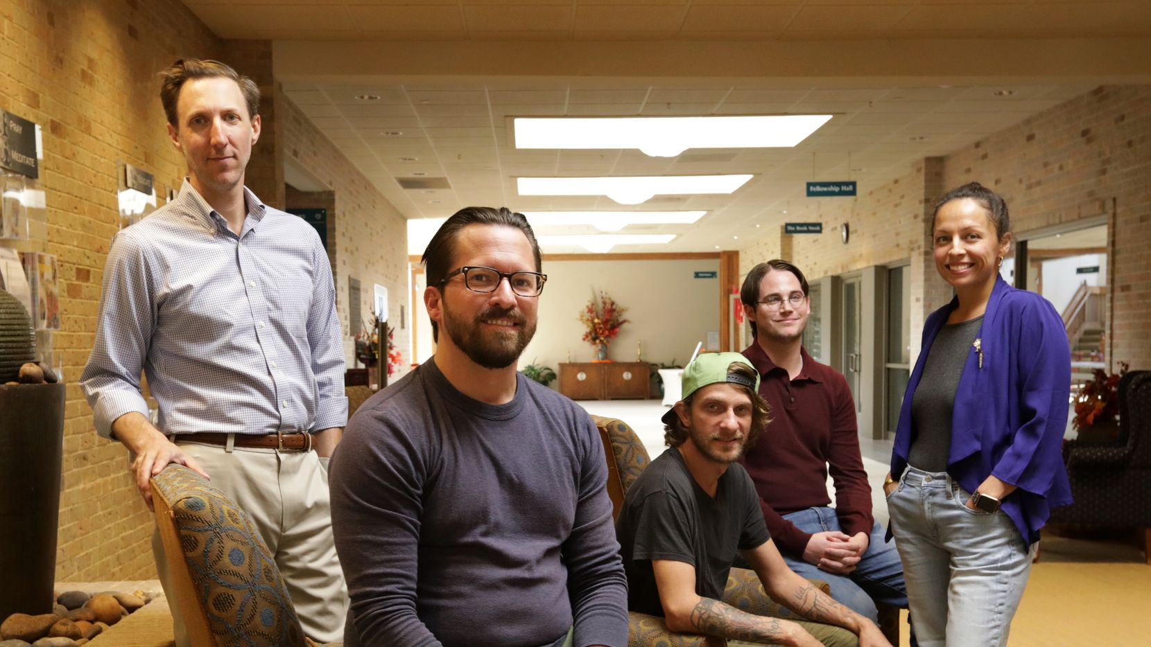 From left: Brandon Friedman, Ryan Gause, Wes Elliott, Tristan Seikel and Jessica Pallett of Decriminalize Nature Dallas hosted a town hall meeting at Unity of Dallas on Oct. 13, 2019.