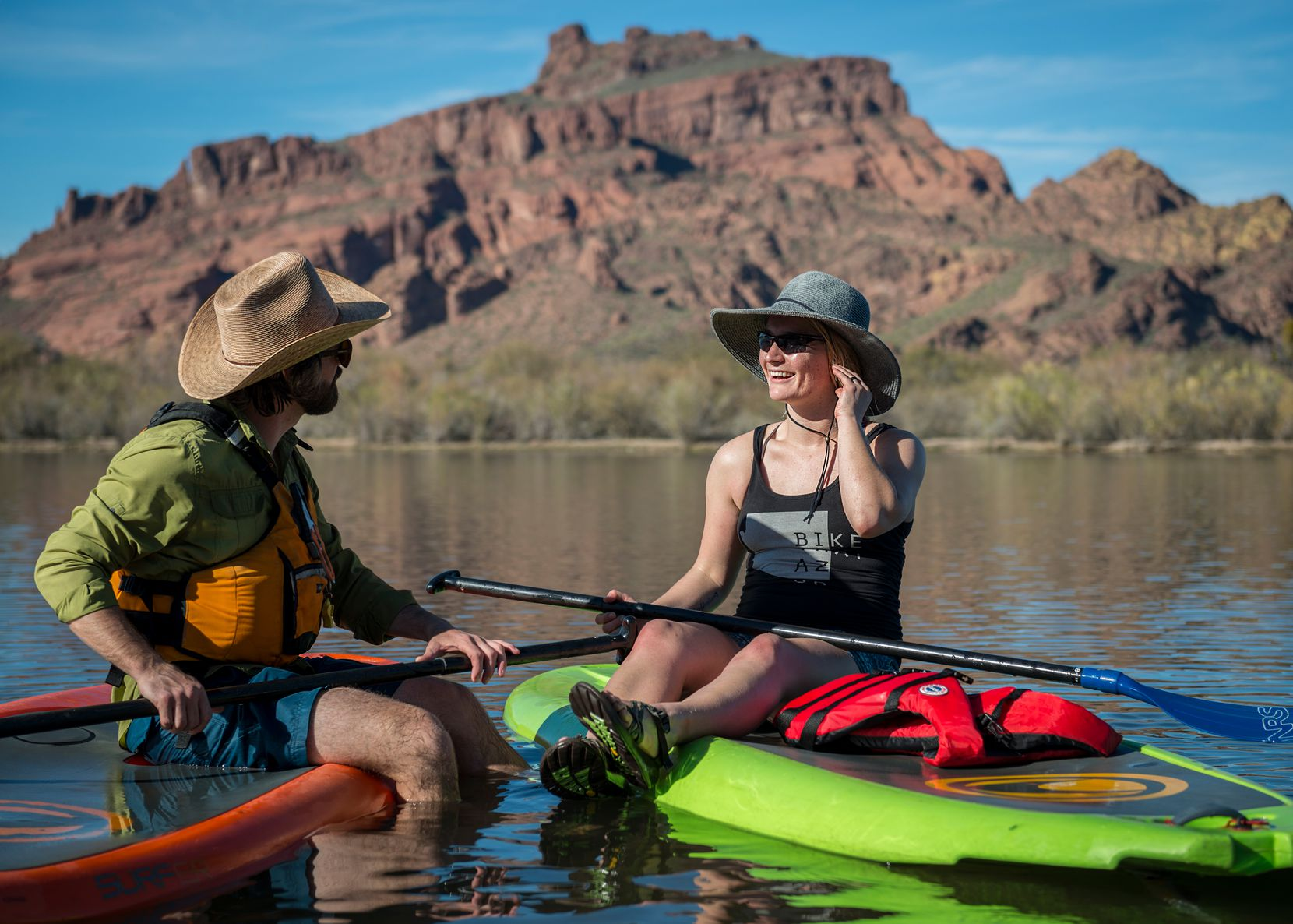 Paddleboarding on the Salt River is a popular activity for visitors to the Phoenix area.