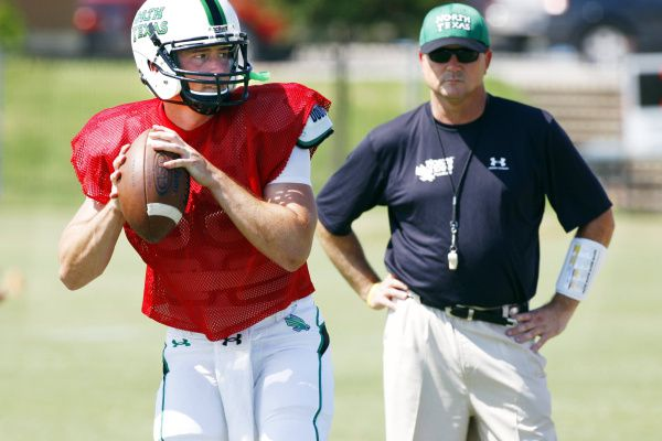 Riley Dodge played quarterback for his father Todd's Southlake Carroll team and then followed his dad to Denton when Todd became the head coach for North Texas.