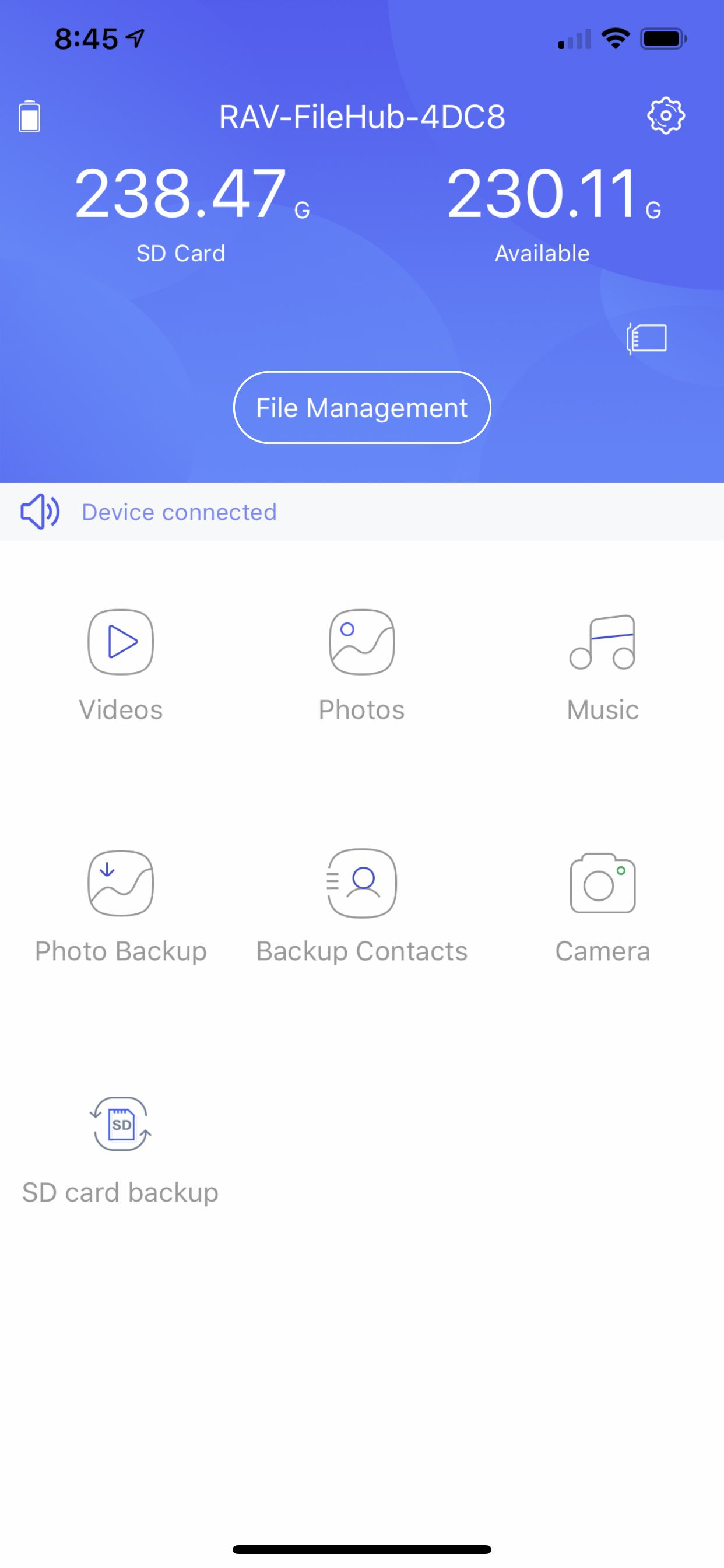 The main screen of the Filehub app on iPhone