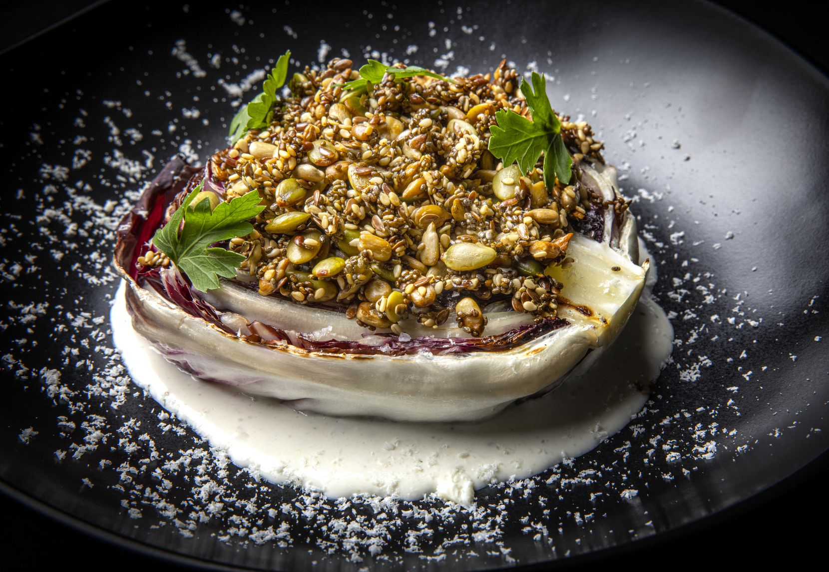 Charred Radicchio With Gorgonzola and Seedy Love Sprinkle from Rancho Loma