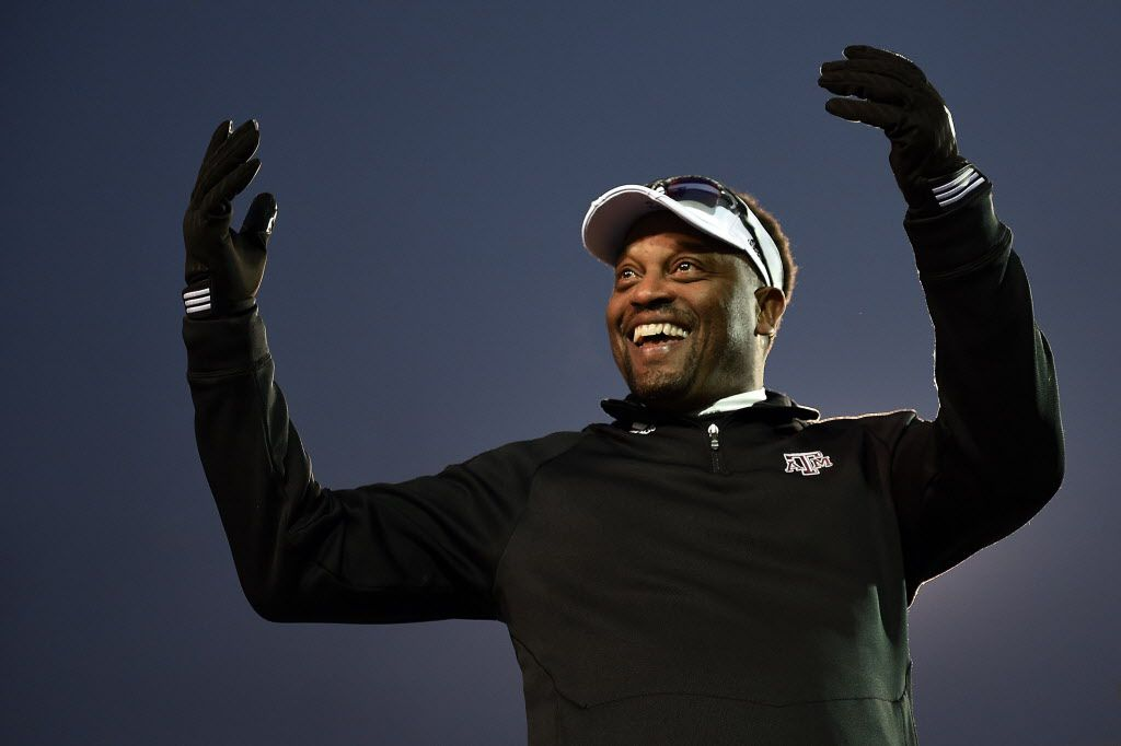 MEMPHIS, TN - DECEMBER 29: Head coach Kevin Sumlin of the Texas A&M Aggies looks to the crowd following a victory over the West Virginia Mountaineers in the 56th annual Autozone Liberty Bowl at Liberty Bowl Memorial Stadium on December 29, 2014 in Me