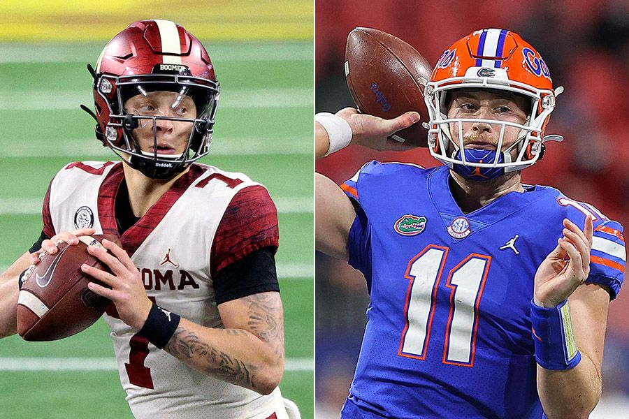 The Cotton Bowl Classic starting quarterbacks: Oklahoma's Spencer Rattler (left) and Florida's Kyle Trask. (Photo credit from left to right: Ronald Martinez and Kevin C. Cox)