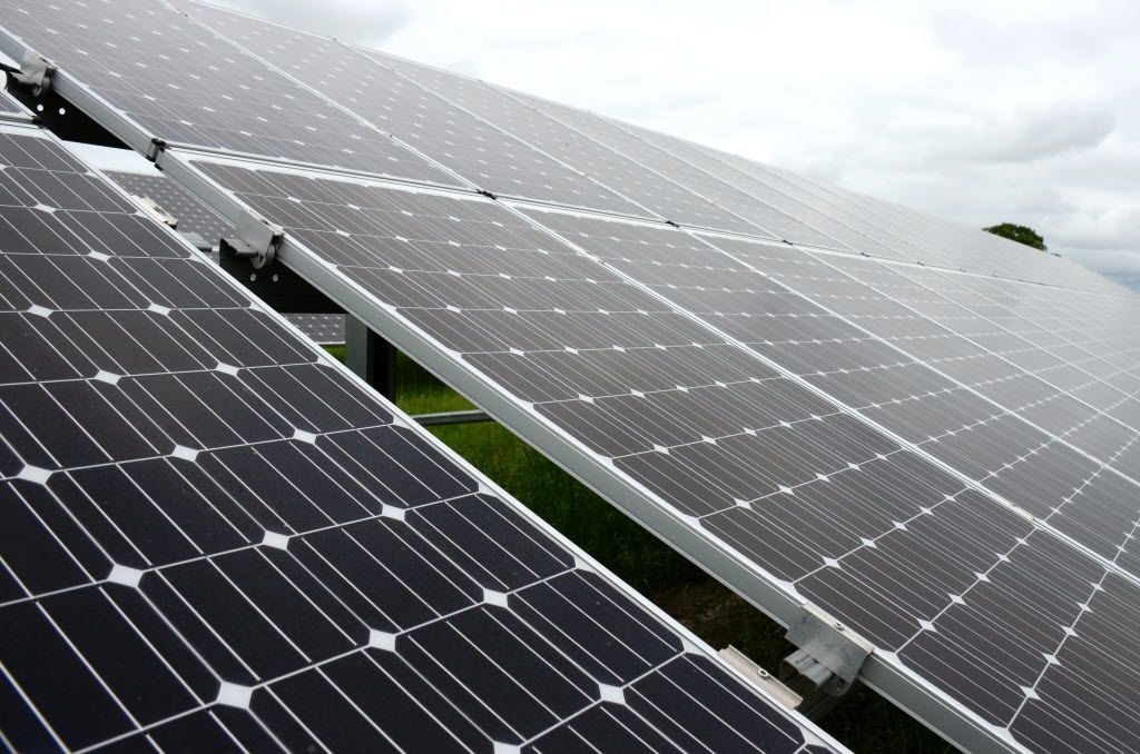 Panels at the CoServ Kruegerville Solar Station in Denton County face south to capture the sun's energy. Each 50-pound panel has 72 solar cells and can produce 3.9 million kilowatt hours each year as a whole.