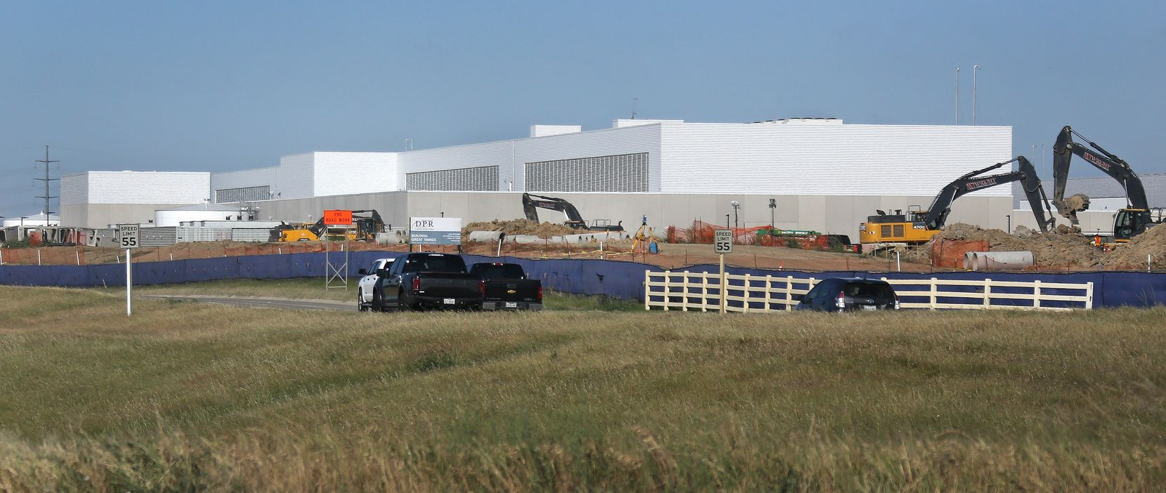 Construction has started on the third phase of Facebook's Fort Worth Data Center, as seen from Highway 170.